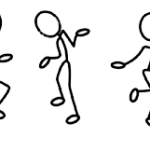 Seven stick figures in a line each in a different movement pose